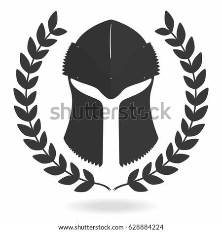 Spartan Helmet Silhouette Laurel Wreath Front Stock Vector 628884224 ...