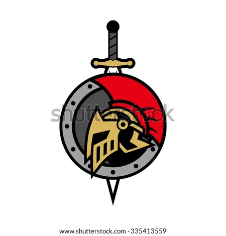 Spartan Knight, gladiator with shield and armor, strong and protective, isolate - stock vector