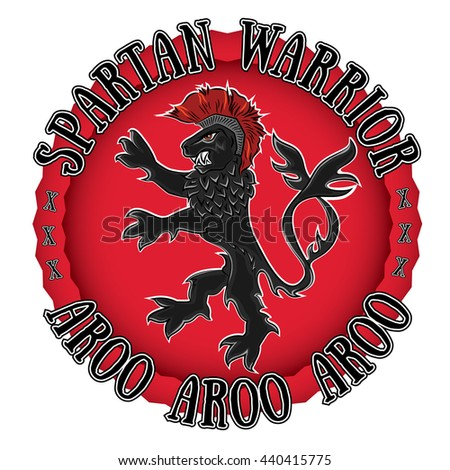 spartan lion warrior centurion profile design illustration - stock vector