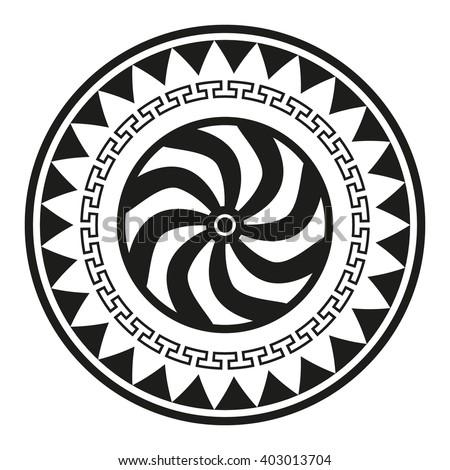 Spartan Shield Greek Ornament Illustration Vector Stock Vector
