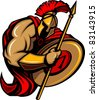 Spartan Trojan Cartoon with Spear and Shield - stock photo