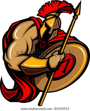 Spartan Trojan Cartoon with Spear and Shield - stock vector