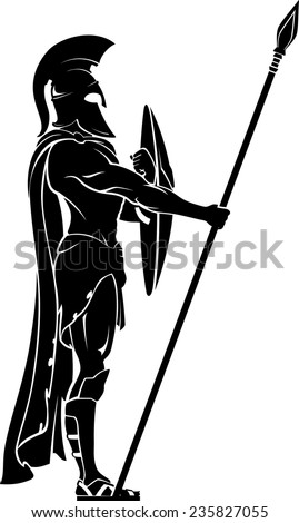 Spartan Warrior on Guard - stock vector