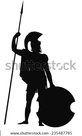 Spartan warrior with shield and spear detailed vector silhouette. EPS 8 - stock vector