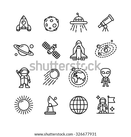 Spase Outline Black and White Icons Set. Vector illustration - stock vector
