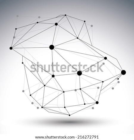 Spatial technological shape, polygonal black and white eps8 wireframe creative object with lines and dots. - stock vector