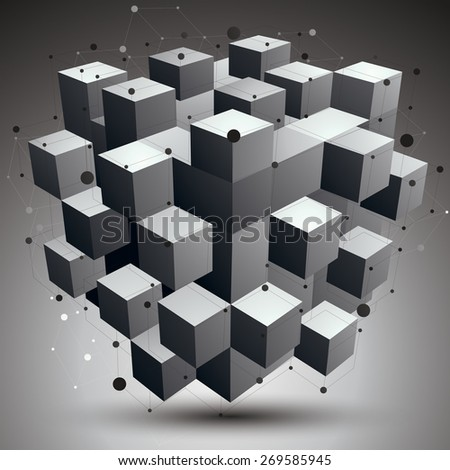Spatial vector monochrome digital object, 3d technology figure with geometric elements and wireframe. - stock vector
