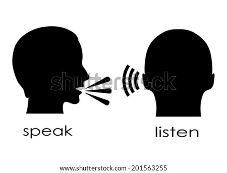 Speak and listen symbol - stock vector