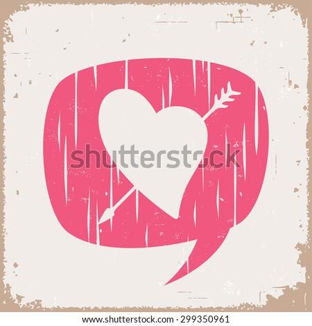 Speak love. Heart and arrow. - stock vector