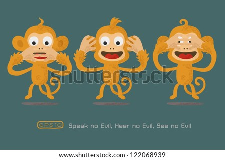 Speak no evil , Hear no evil , see no evil ,eps 10 vector format - stock vector