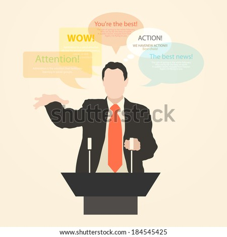 Speaker a speech, acts and speaks with enthusiasm, standing behind a podium with a microphone at the conference. policy, politics, political, news Rhetoric. Oratory. Policy. eloquence Vector. Icon. - stock vector