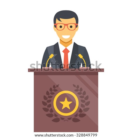 Speaker at podium. Man in suit standing at rostrum. Important event, business conference concept. Modern flat design vector illustration. Isolated on white background - stock vector