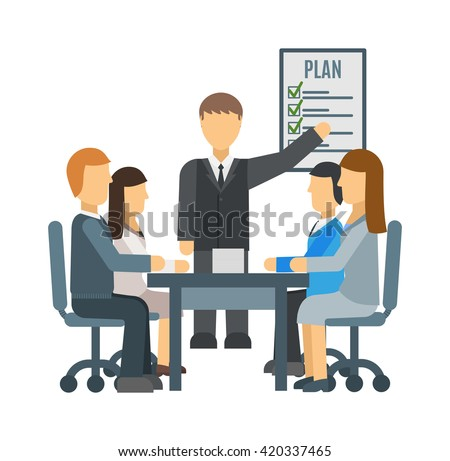Speaker giving presentation business training lecture hall university. Participants listening business training lecture and making notes business training. Business training conference education. - stock vector