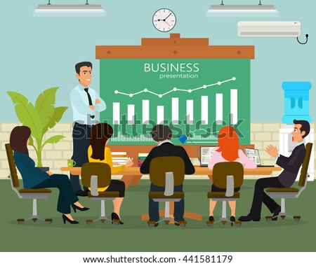 Speaker giving presentation business training lecture hall university. Participants listening business training lecture and making notes business training.  - stock vector