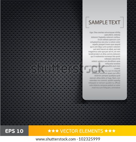 Speaker grill texture black background with text tag - stock vector