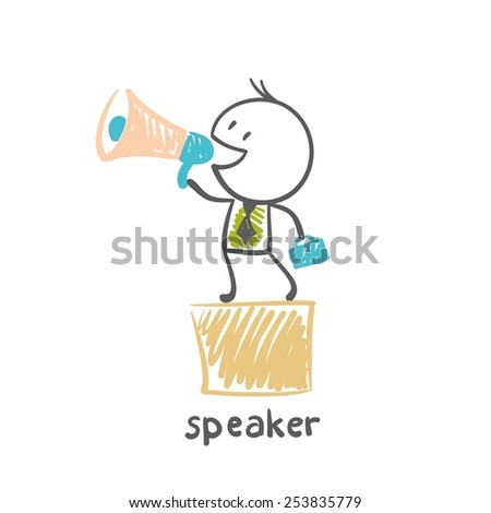 speaker holds diplomat, stands on a box and shouting in loudspeaker illustrator - stock vector
