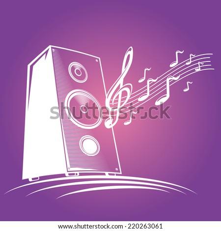 Speaker & musical notes - stock vector
