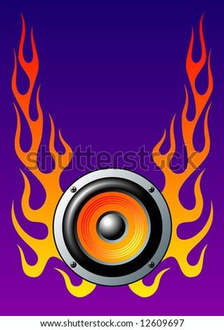 Speaker on blue background, vector illustration - stock vector