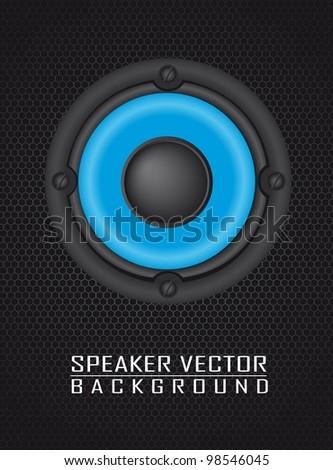 speaker over speaker grille background. vector illustration - stock vector