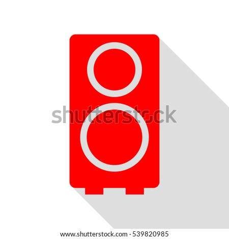 Speaker sign illustration. Red icon with flat style shadow path.