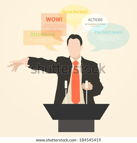 Speaker speech, speaks with enthusiasm, standing behind a podium with a microphone at the conference. policy, politics, political, news. Presentation and performance before an audience. Vector. Icon. - stock vector