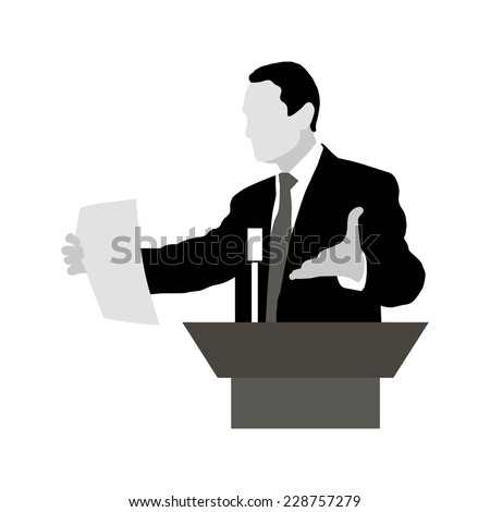 Speaker stands with expressive gestures, holding a sheet of paper for presentation. Rhetoric. Oratory, lecturer, business seminar. Vector. Icon. Orator stands behind a podium with microphones.  - stock vector
