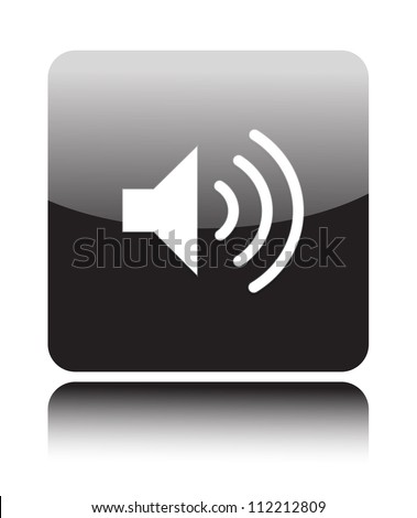 Speaker Volume icon on black button - stock vector