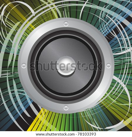 Speaker with grunge effect background - stock vector