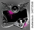 Speaker with wings and turntable on modern grunge background - stock vector