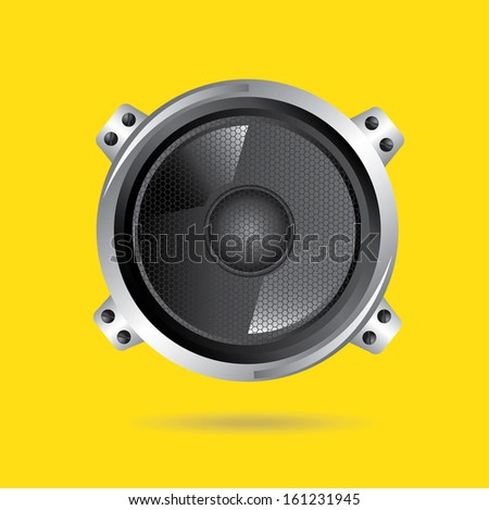 speakers design over yellow background vector illustration