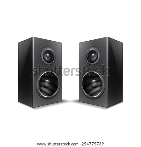 Speakers isolated on white photo-realistic vector illustration - stock vector
