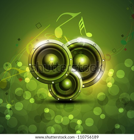 Speakers on beautiful shiny green abstract background. EPS 10. - stock vector