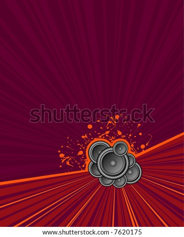speakers set on purple grunge rush background - stock vector
