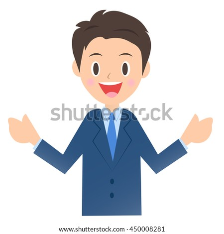 Speaking businessman, male company employee of illustration material