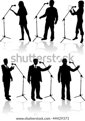 speaking into the microphone - stock vector