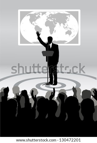 speaking to the audience in studio - stock vector