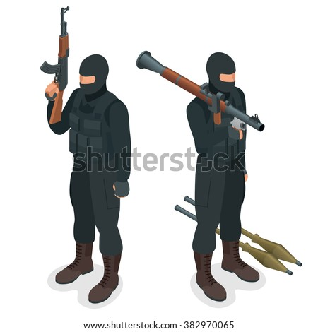 Spec ops police officers SWAT in black uniform. Soldier, officer, sniper, special operation unit, SWAT flat 3d isometric illustration. Soldier with AT rocket launcher. User pic Soldier  - stock vector