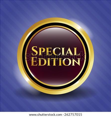 Special edition gold shiny emblem - stock vector