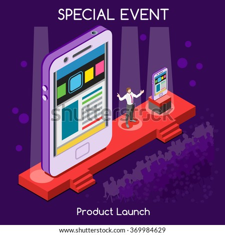 Special Event International Meeting New Product Launch Flat 3d Isometric Isometry CEO Speaker and Public Presenting New Device Worldwide Online Conference. Creative People Set Vector Illustration. - stock vector