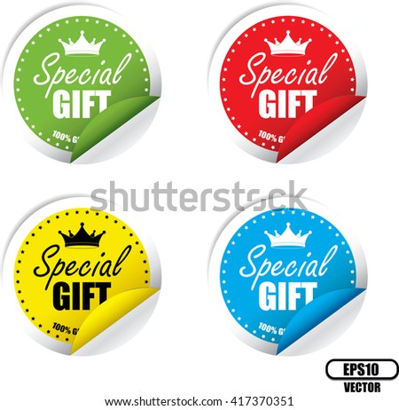 Special Gift Colorful Label, Sticker, Tag, Sign And Icon Banner Business Concept, Design Modern. Vector illustration. - stock vector