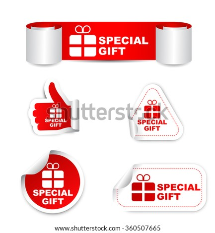 special gift, red vector special gift, red sticker special gift, set stickers special gift, element special gift, sign special gift,design special gift, picture special gift, illustration special gift - stock vector