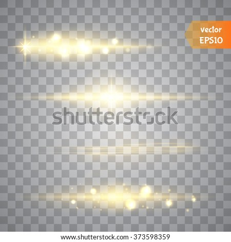 Special line flare light effects for design and decor. Golden lights. Vector - stock vector