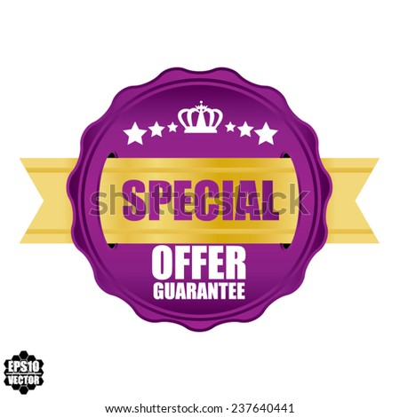 Special Offer  Award Violet Symbol, Sign, Icon,Label And Tag With Crown Stickers. Certificate Emblem Labels. Vector Badge With Gold Ribbon. - stock vector