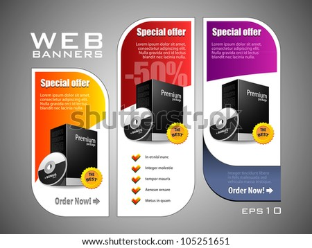 Special Offer Banner Set Vector Colored 11: Yellow, Purple, Violet, Red. Showing Products Purchase Button - stock vector