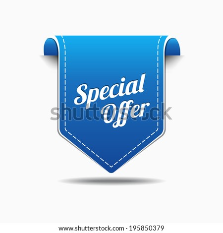 Special Offer Blue Label Icon Vector Design - stock vector