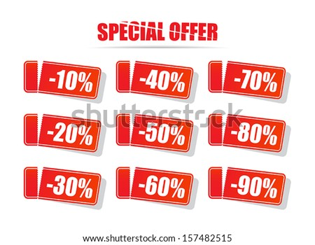 Special offer. Discount price tags. Vector