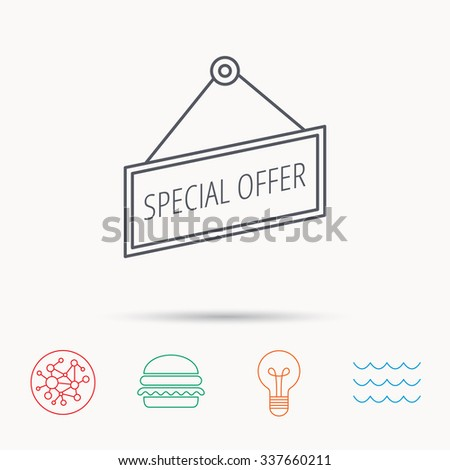 Special offer icon. Advertising banner tag sign. Global connect network, ocean wave and burger icons. Lightbulb lamp symbol. - stock vector