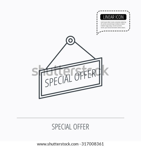 Special offer icon. Advertising banner tag sign. Linear outline icon. Speech bubble of dotted line. Vector - stock vector