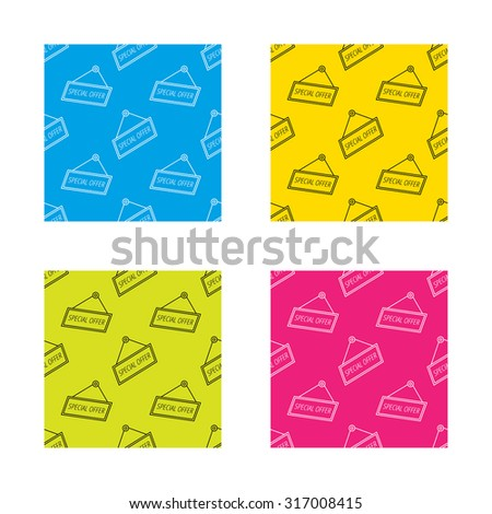 Special offer icon. Advertising banner tag sign. Textures with icon. Seamless patterns set. Vector - stock vector