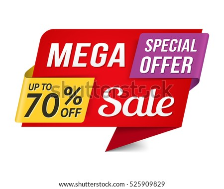 Special offer mega sale banner, vector eps10 illustration